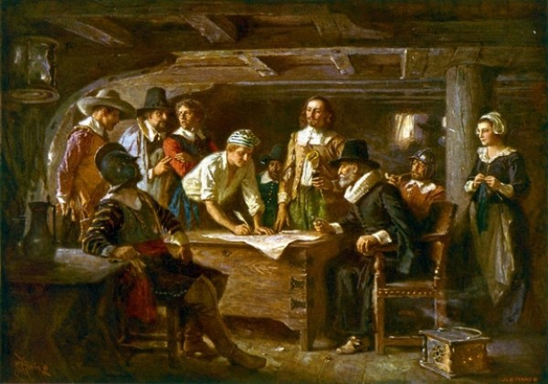 """Signing the Mayflower Compact 1620"" by Jean Leon Gerome Ferris,1899"