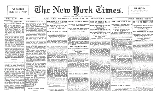NY Times was a sober reading on February 10, 1897.