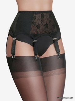 6 Strap Suspender Belt Lace Front and Sides