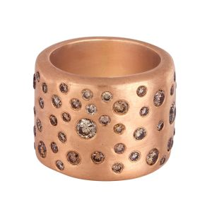 Rose Gold Cobblestone Band Ring with Champagne Diamonds