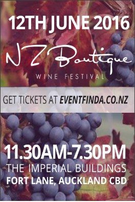 Click HERE to secure your tickets to the 2016 NZ Boutique Wine Festival