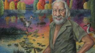 Liran Hu. The Old Man and the Cranes. Oil on canvas. (2016 Grand Prize Winner for the Unsung Heroes Competition)