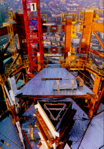 Figure 11: Building construction with heavy plates, Commerzbank Tower (structure of piles)
