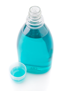 Mouthwash bottle isolated on a white background