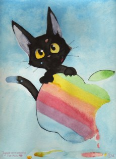 Jiji paints an apple