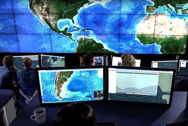 From their control centre in Oxfordshire, analysts from Satellite Application Catapult can track vessels around the world and watch for abnormal or illegal behaviour. Photograph: Satellite Applications Catapult