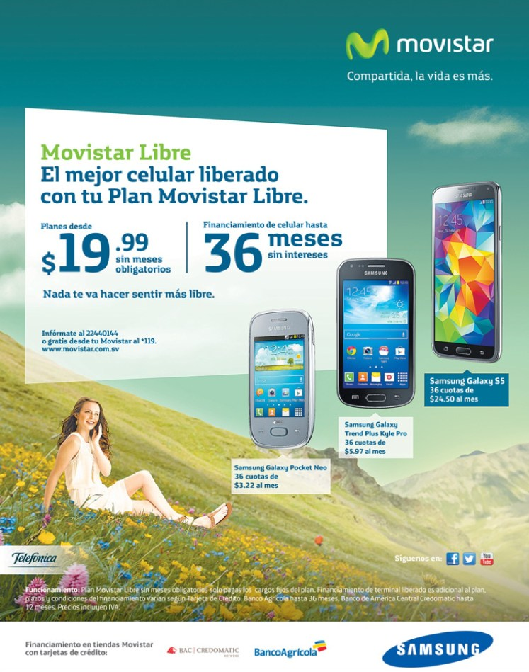 Financiaineto banco agricola SMARTPHONE samsung MOVISTAR - 24jun14