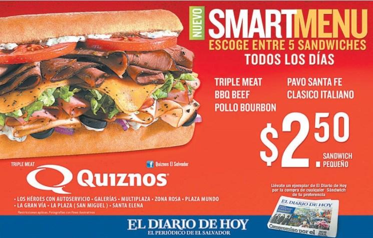 QUIZNOS smar sandwiche menu - 21jun14