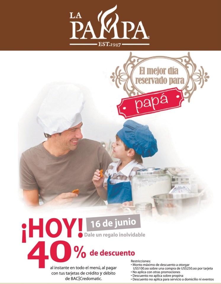 dale un regalo inolvidable a PAPA descuento restaurante LA PAMPA - 14jun14