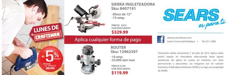 CRAFTSMAN tools sierra ingleteadora router SEARS promotions - 07jul14