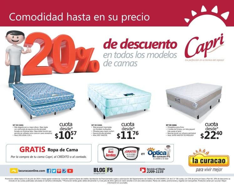 La Curacao Comodidad y Descuento en TODAS las camas CAPRI - 05jul14