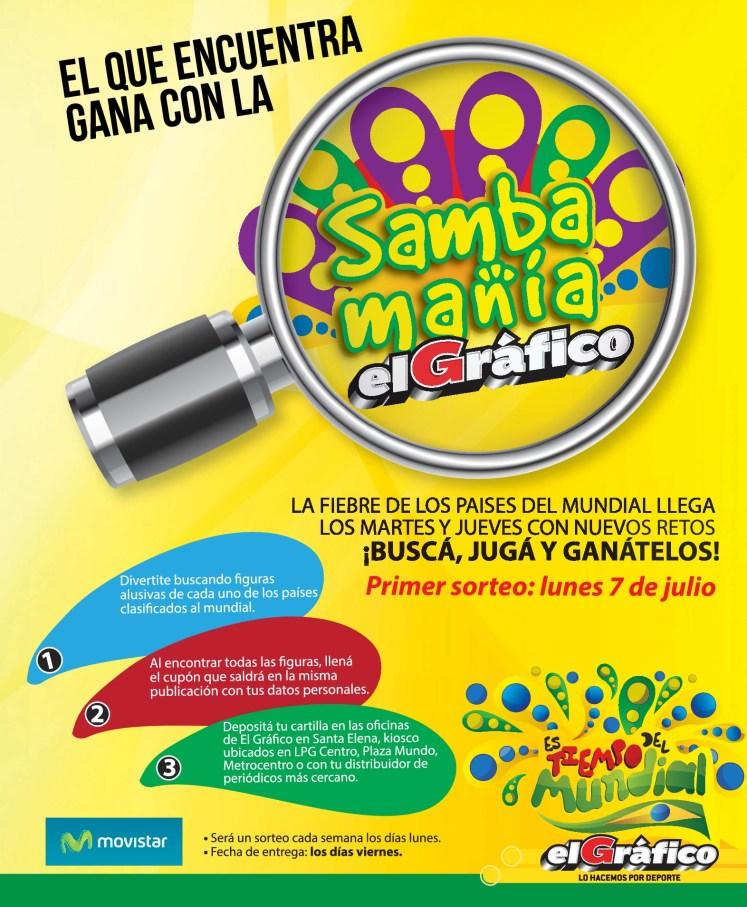 Promocion SAMBA MANIA el grafico  BUSCA y gana muchos premios