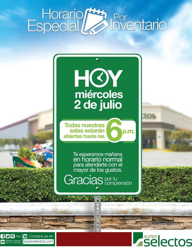Super Selectos HOY horario especial por inventario - 02jul14