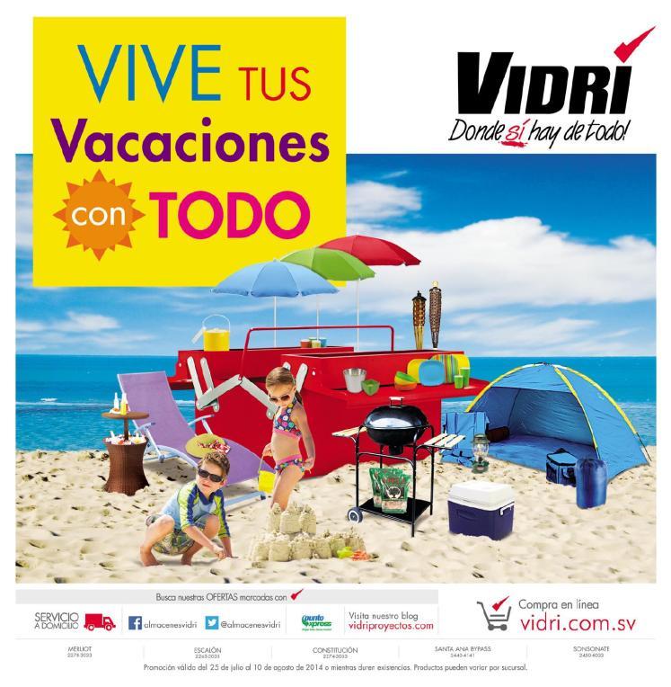 catalogo de compras y ofertas de vacaciones VIDRI agosto 2014