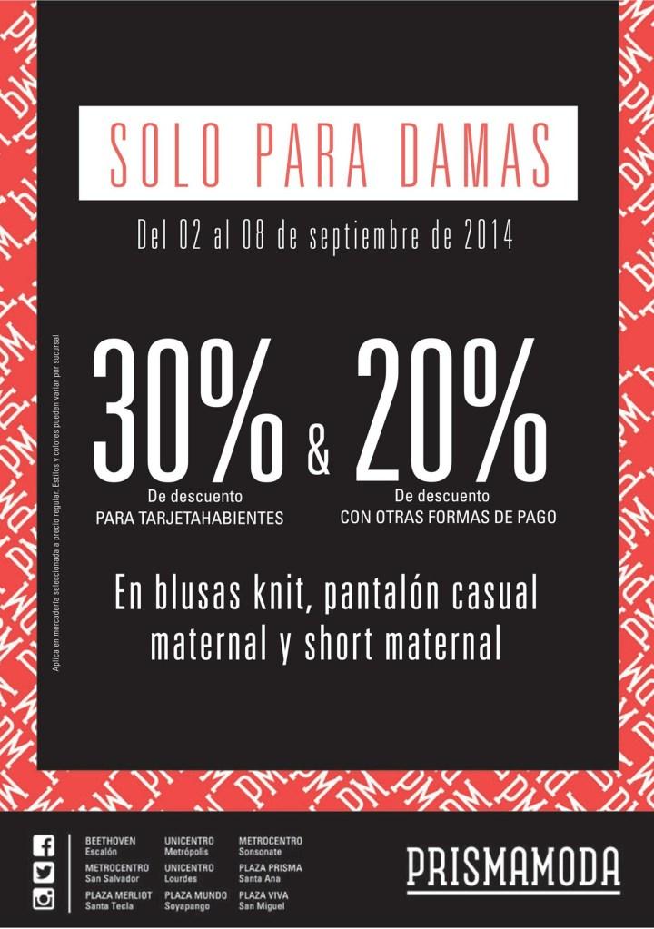 Semana solo para DAMAS descuentos prisma moda - 03sep14