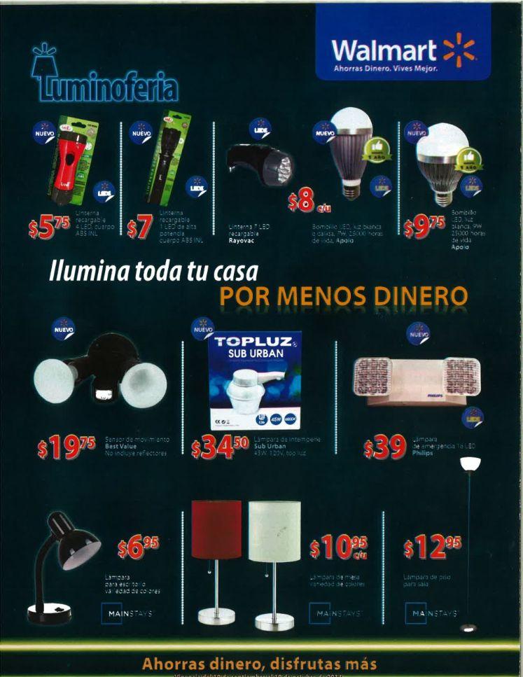 Variedad de lamparas de mesa y emergencia WALMART promociones - 19sep14