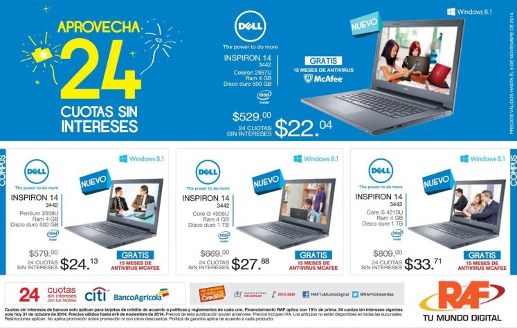 DELL inspiron computers laptops RAF promociones - 31oct14