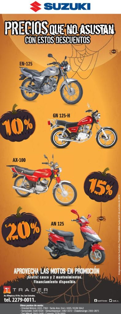 Motorcycle SUZUKI discounts for halloween - 29oct14
