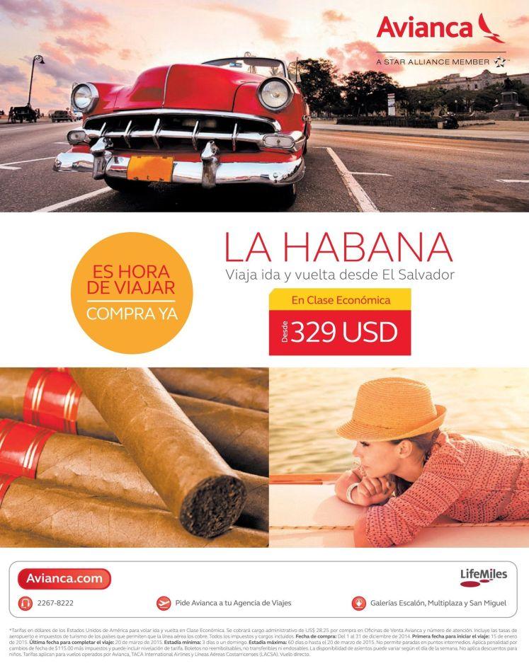 Ofertas boletos LA HABANA Cuba by AVIANCA - 04dic14