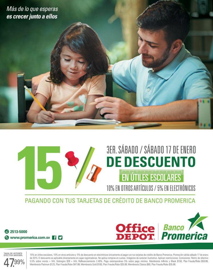 Office Depot utiles escolares DESCUENTO banco promerica - 16ene15