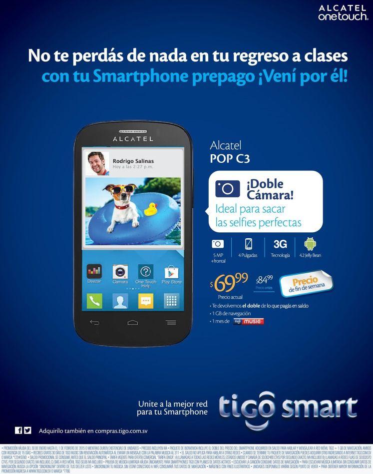REBAJA telefono Alcatel POP C3 de tigo - 30ene15