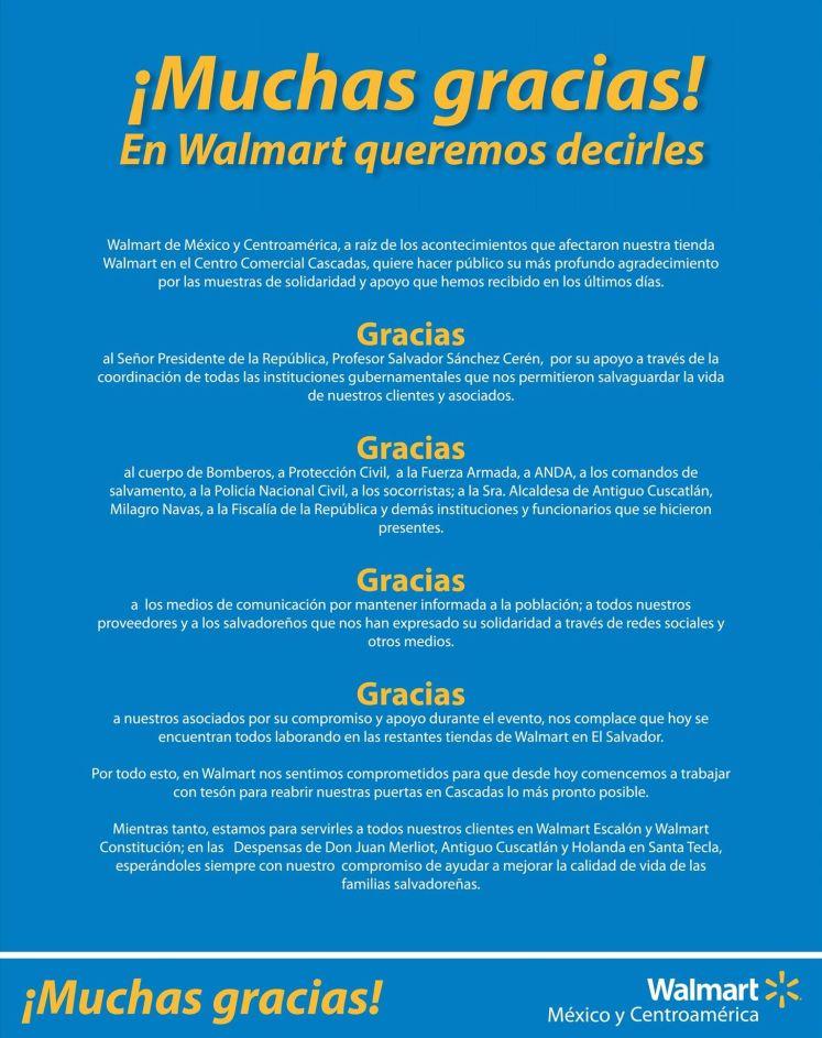 WALMART mexico y centroamerica comunicado de agradecimiento - 06ene15