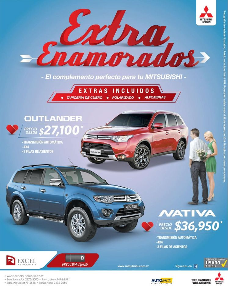 EXTRA all inclusive mitsubisi OUTLANDER - 24feb15