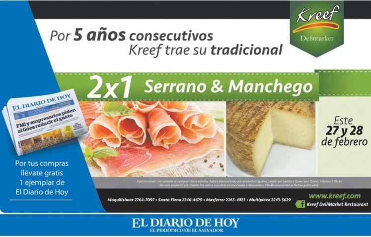 KREFF delimarket gourmet el salvador JAMON SERRANO y MANCHEGO