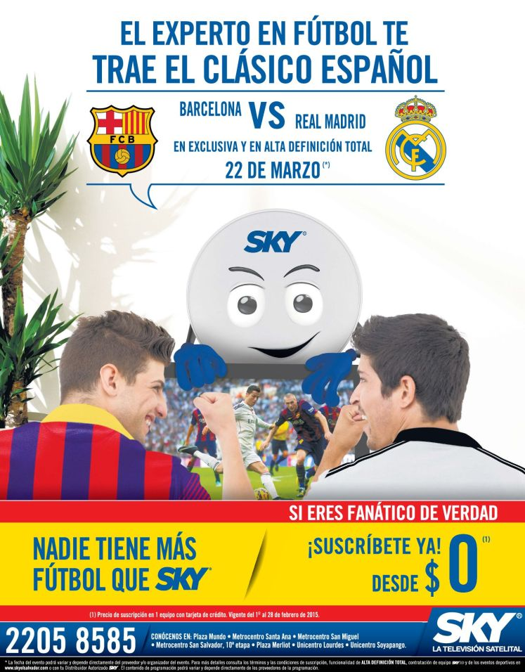 SKY television stream CLASICO marzo 2015 barcelona vs real madrid