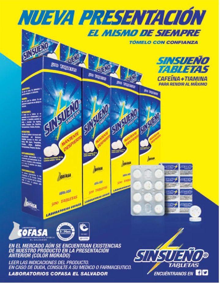 nueva presentacion tabletas SIN SUEÑO cafeina mas tiamina