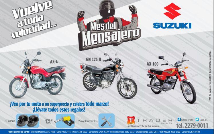 Los mensajeros mas veloces viajan en una MOTO SUZUKI - 09mar15