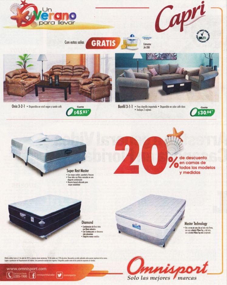 Todos los modelos de camas CAPRI con descuento OMNISPORT - 27mar15