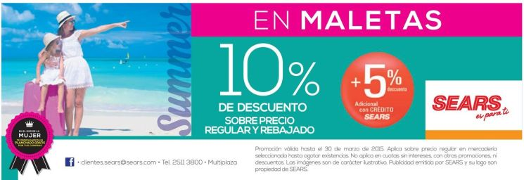 summer shopping discount en maletas SEARS - 21mar15