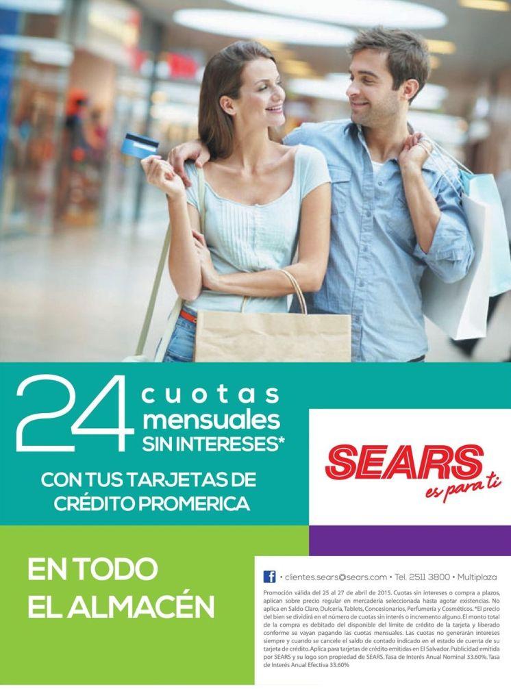 24 cuotas mensuales sin interes SEARS and BANCO promerica - 24abr15
