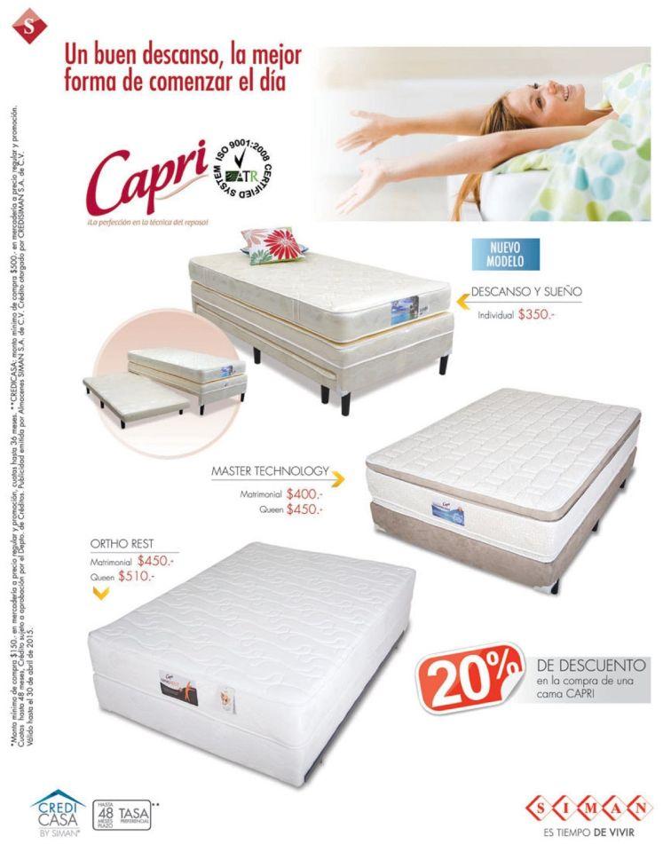 Busca esta semana en SIMAN descuento en camas CAPRI - 13abr15