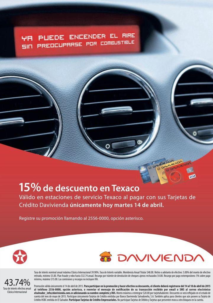 HOY davivienda con 15 OFF en gasolineras TEXACO - 14abr15