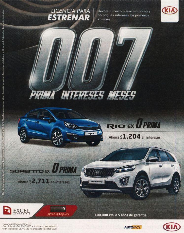 KIA rio con cero prima venta de autos el salvador