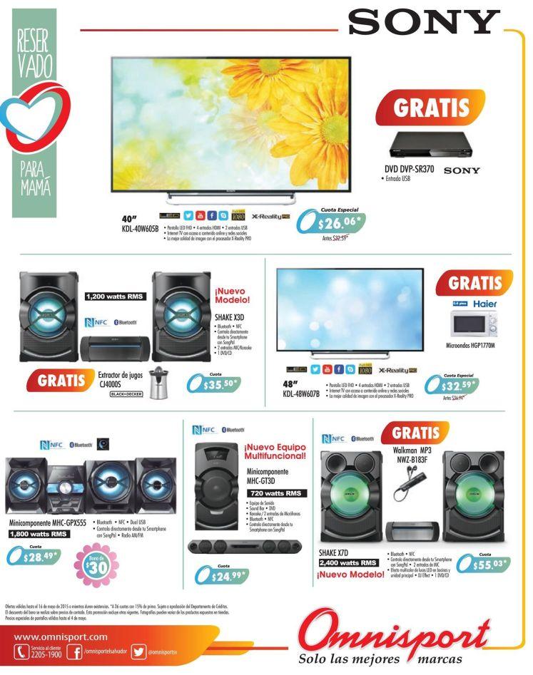 OMNISPORT ofertas en tecnologia SONY audio video pantallas - 30abr15