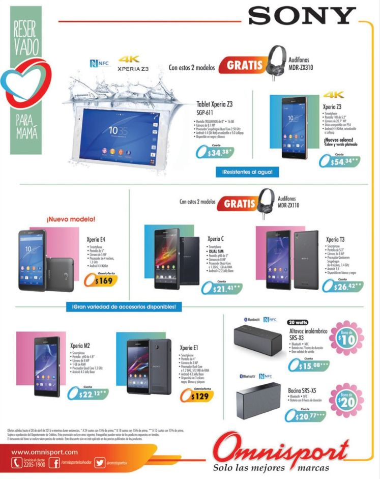 Tecnologia SONY XPERIA smart phones and tablet OFERTAS omnisport - 24abr15