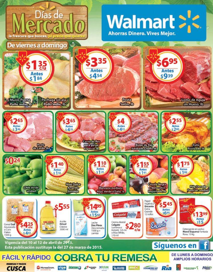 carnes frutas bebidas snacks verduras WALMART ofertas de mercado - 10abr15