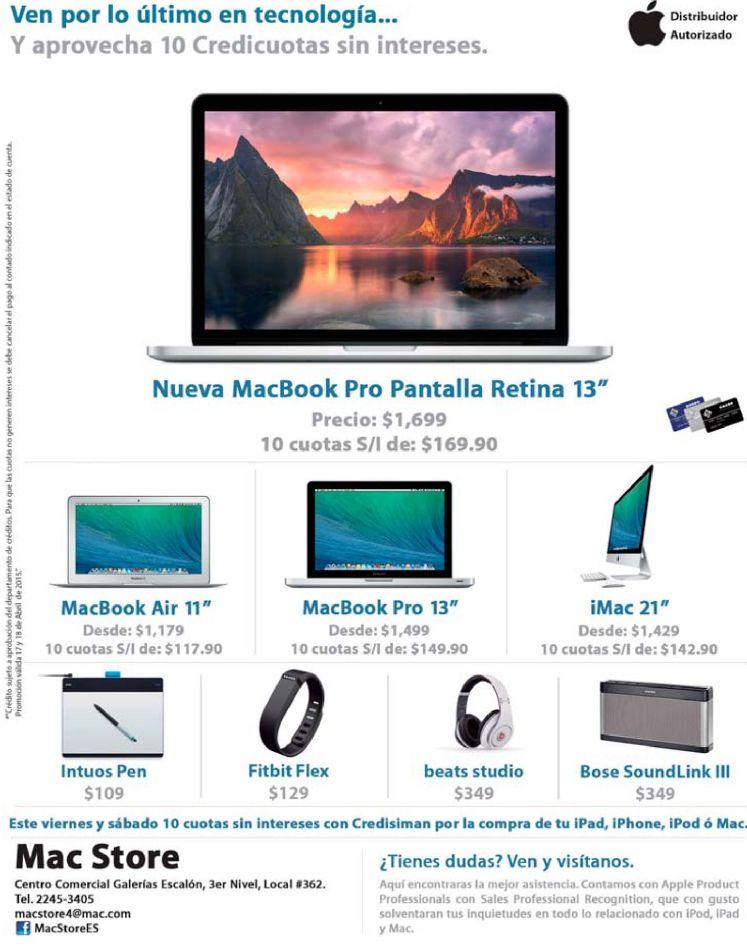 ofertas y promociones en productos APPLE elsalvador - 17abr15