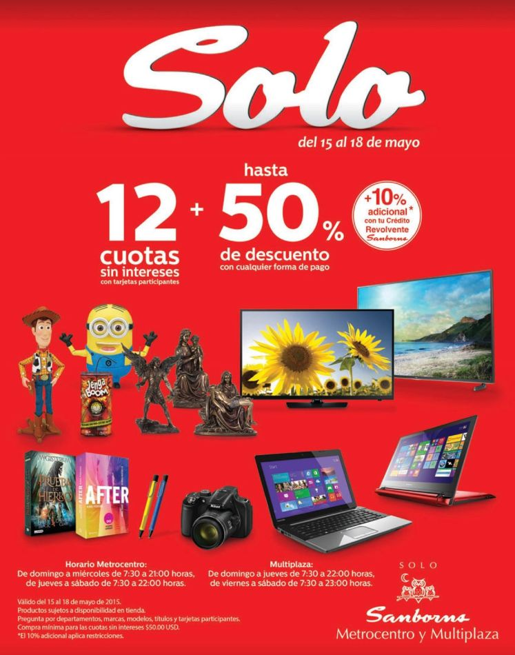 Busca laptops camatas pantallas con 15 OFF en SAMBORNS - 15may15