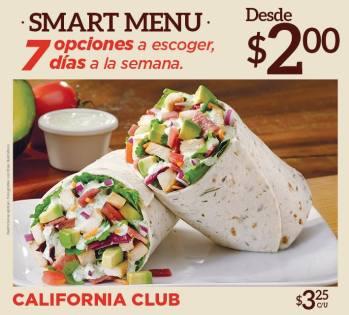 California CLUB smart menu de QUIZNOS desde 2 dolares