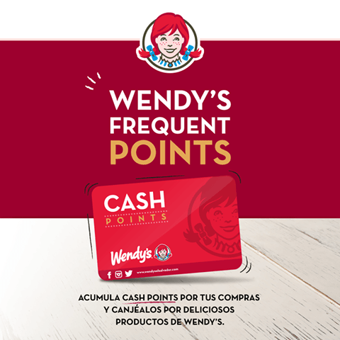 Wendys Frequent POINTS cash para tus compras y productos