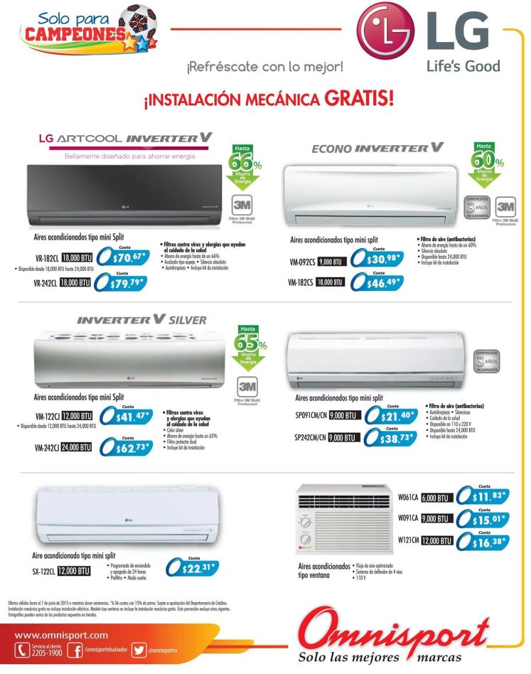 Air Conditioning PROMOTIONS LG econo inverter and more