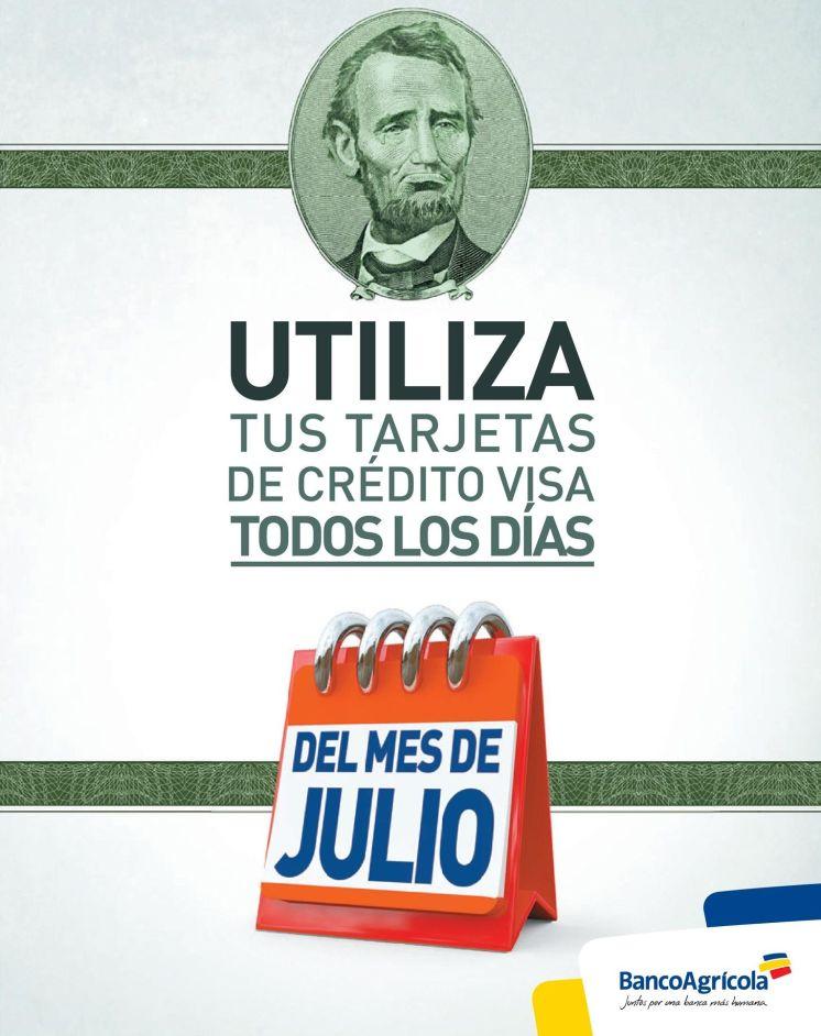 Banco Agricola el salvador Credit card promotions JULY