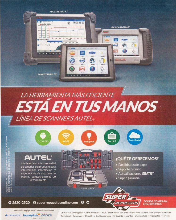 Promociones linea de scanners AUTEL kit maxisys PRO