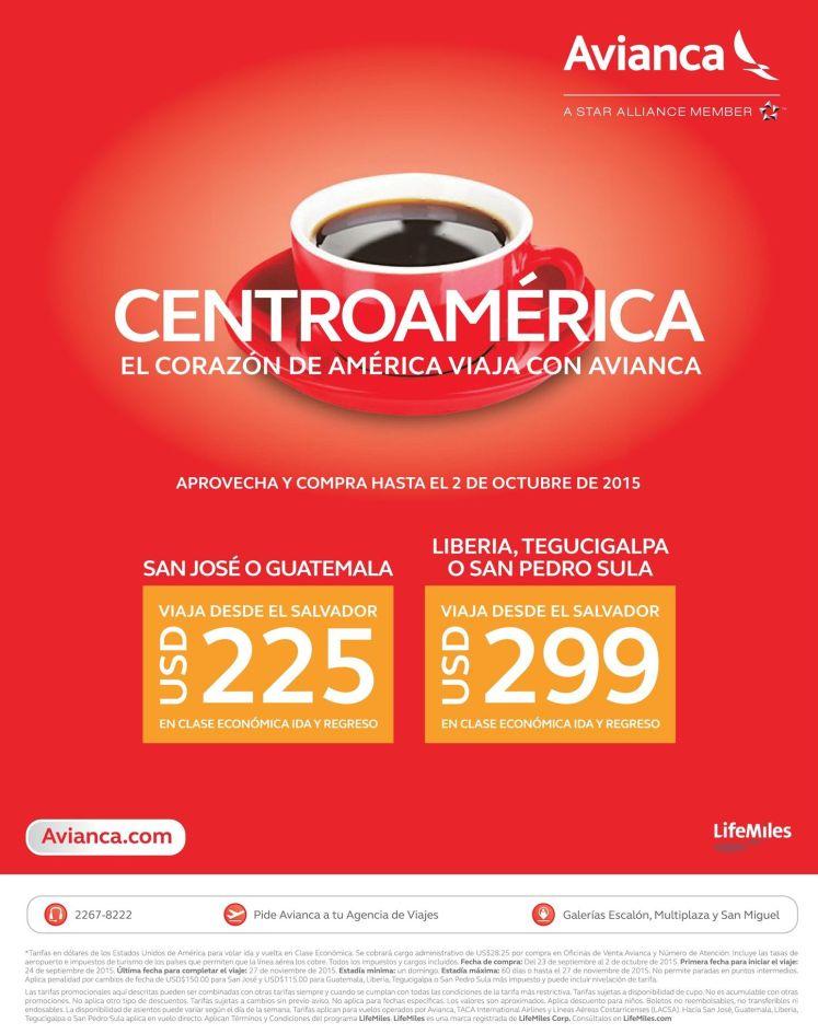 CENTROAMERICA viaja con las promociones de AVIANCA - 25sep15