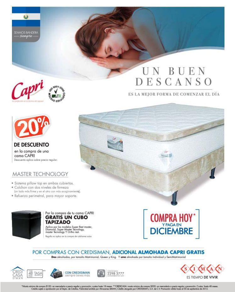 Estas son las mejores camas CAPRI disponibles en SIMAN