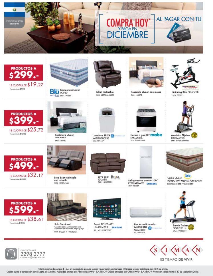SIMAN quiere ofrecerte la promocion COMPRA HOY y paga hasta Diciembre 2015